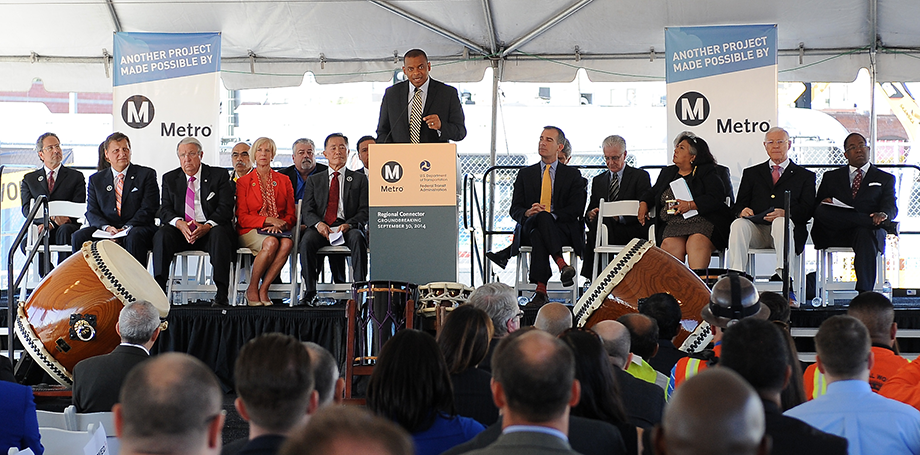 U.S. Secretary of Transportation Anthony Foxx speaks at the Metro Regional Connector groundbreaking ceremony.
