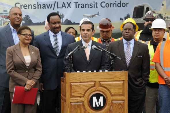 <p>L.A. Mayor and Metro Board Chair Antonio Villaraigosa and Supervisor and Metro Board Member Mark Ridley-Thomas along with other officials at announcement.</p>