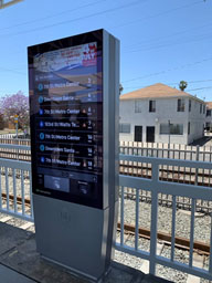 New digital screens with the arrival time information and digital art series