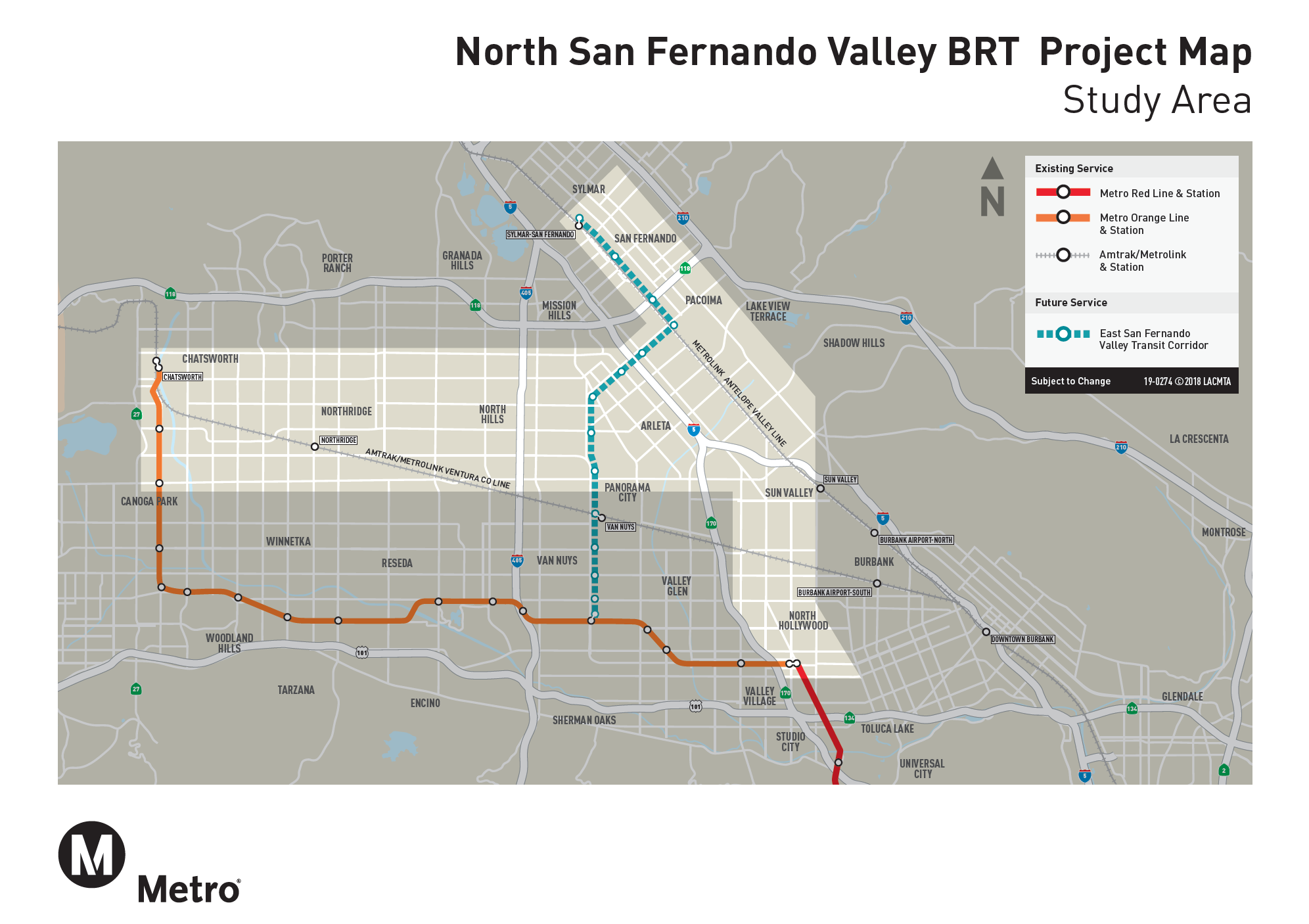 North SFV BRT Planning and Environmental Study Map