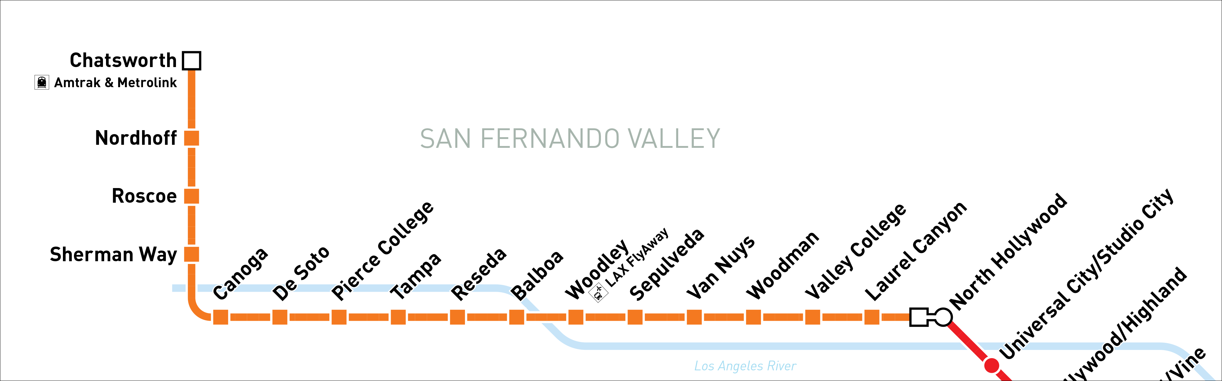 Redline Metro Map Los Angeles.Orange Line