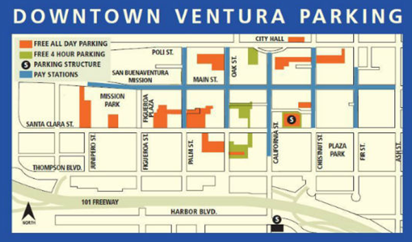 City of Ventura Downtown Parking Map; City of Ventura