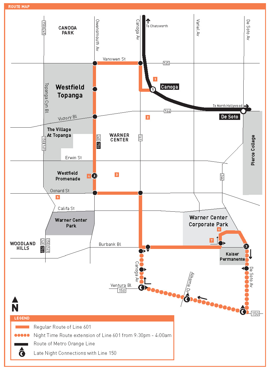 Warner Center Shuttle Map