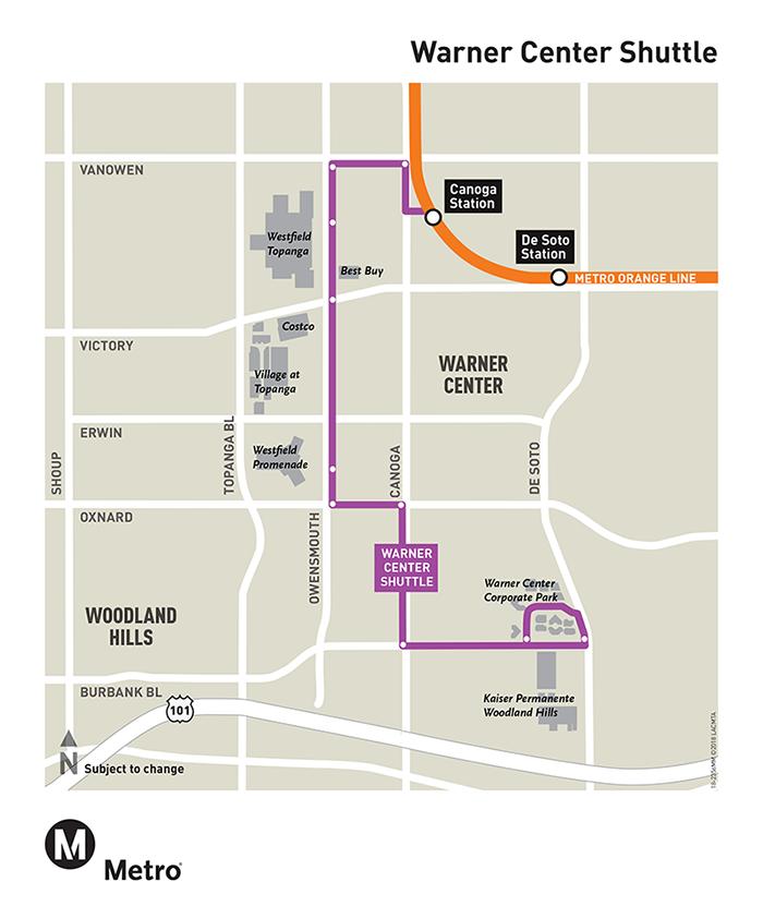 Warner Center Shuttle Map