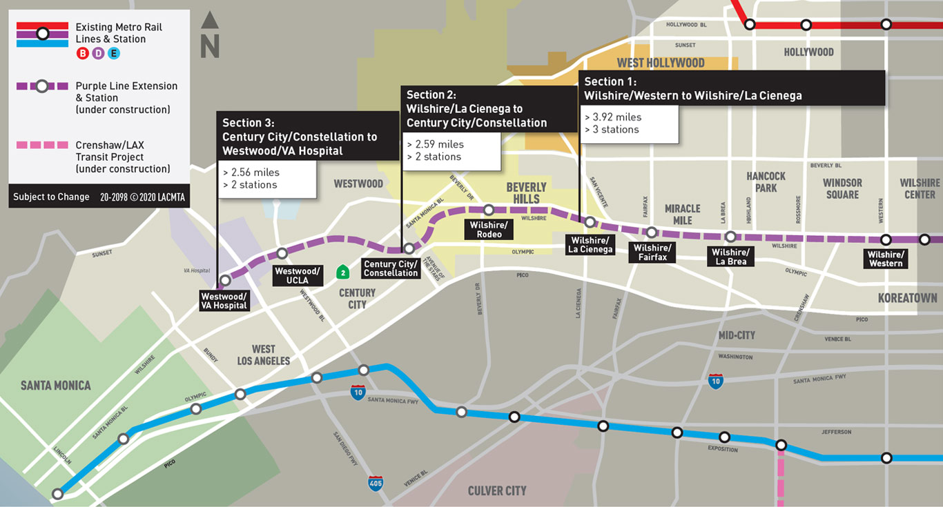 Purple Line Extension map
