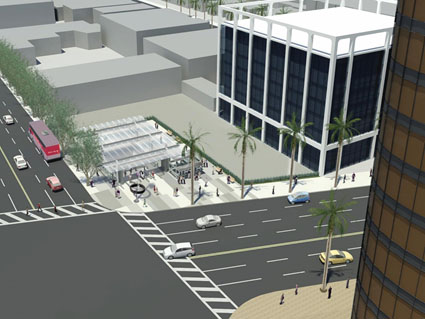 rendering of Wilshire/La Cienega station