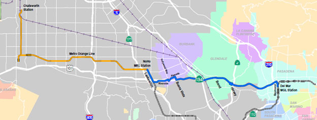 North Hollywood to Pasadena Corridor map