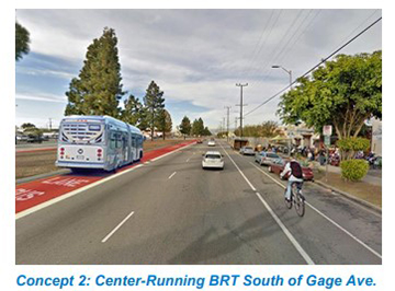 Vermont Concept 2: Center-Running BRT South of Gage Ave.