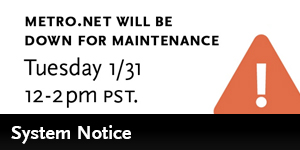 Metro.net will be down for maintenance January 31st