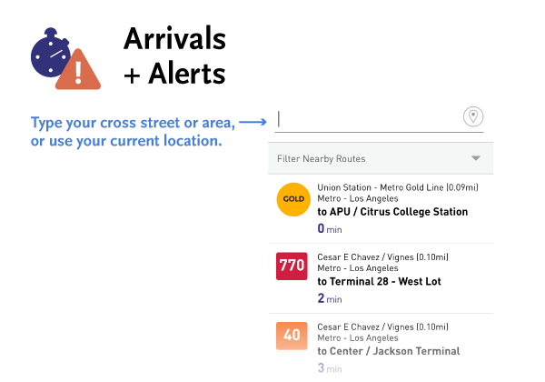 Use Arrivals and Alerts to see the next bus or rail arrival time closest to you as well as any relevant alerts.