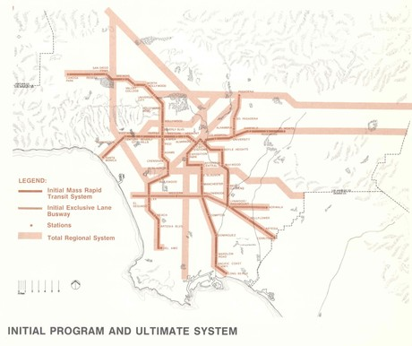 1974 Proposed Transit Master Plan Concept Map