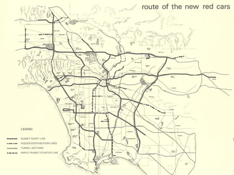 1976 Proposed Sunset Coast Rapid Transit Master Plan Map