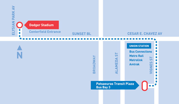 Dodger Stadium Express Map