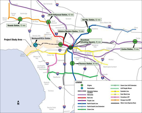 Los Angeles Subway Map 2016.Purple Line Extension